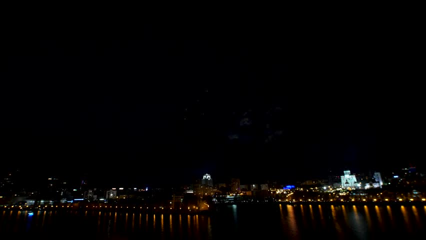 Big firework over the city. Beautiful big firework over the river