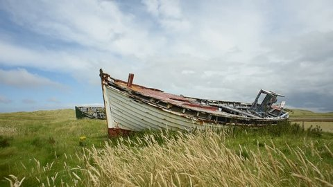 Boat wreck at Meenlarag in Donegal, Ireland/ Wreck/ Shipwercks in Donegal on the beach in Ireland