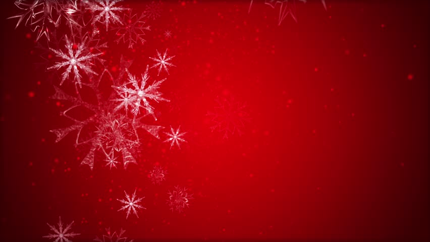 Red Christmas Background With Large And Small Christmas Flakes ...