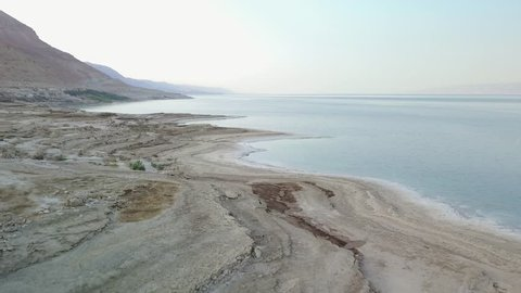Drone flying above Dead Sea