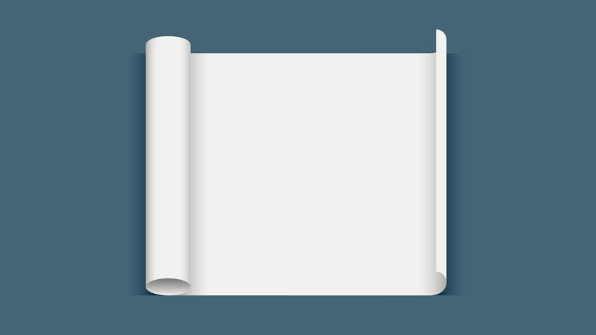 Roll paper. Sheet of paper. White sheet is twisted. 3d animation with transparency.