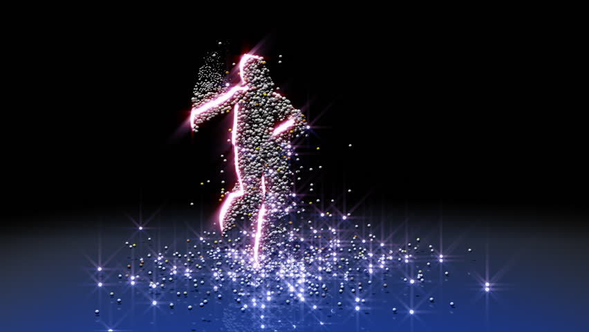 Sexy particle girl dancing, HD 1080p, seamless loop