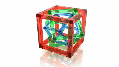 Abstract geometry, full rotation loop. Red, green and blue wire-frame glass cubes within each other