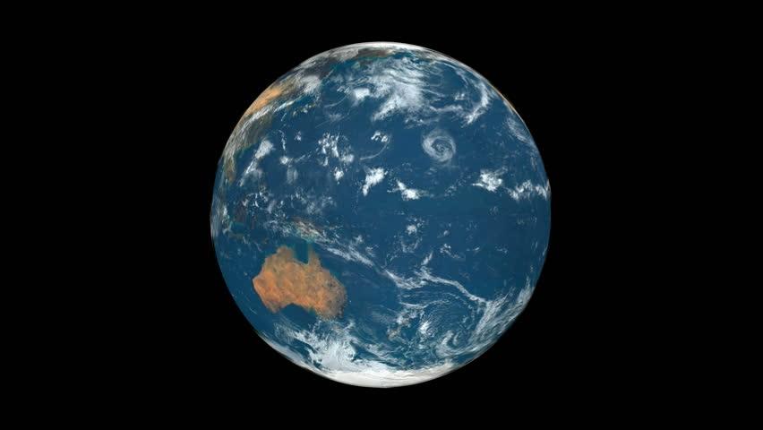 Earth rotation 360° seamless looping