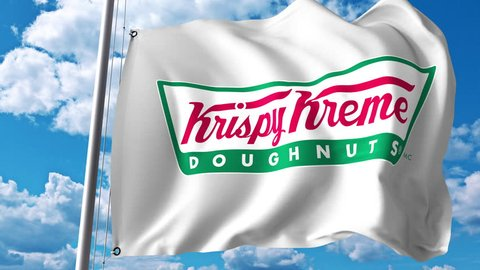 Waving flag with Krispy Kreme logo. 4K editorial animation