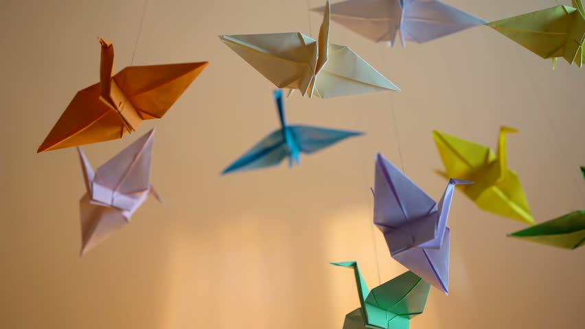 Origami Crane Birds Hanging By Threads Colored Creative Handmade