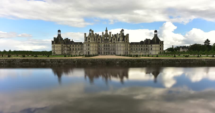 Timelapse of Chateau de Chambord, the largest castle in the Loire Valley. A UNESCO world heritage site in France. Built in the XVI century, it is now a property of the French state