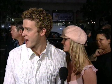Hollywood, CA - FEBRUARY 11, 2002: Britney Spears, Justin Timberlake, walks the red carpet at the Crossroads Premiere held at the Grauman's Chinese Theatre