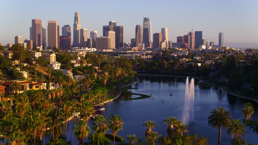 Echo Park Fountains with view of Downtown Los Angeles | Shutterstock HD Video #29228623