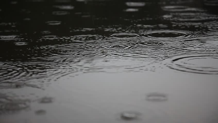 closeup footage rain on water surface