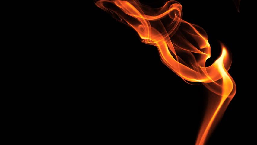 HD flame-coloured smoke on black background