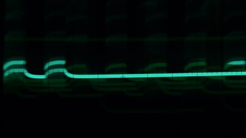 ETHEREAL IMAGES ON AN OSCILLOSCOPE SCREEN.  Fully loop-able, ECU of random impulses on the screen of an oscilloscope.  Short black at the head and tail of the clip.