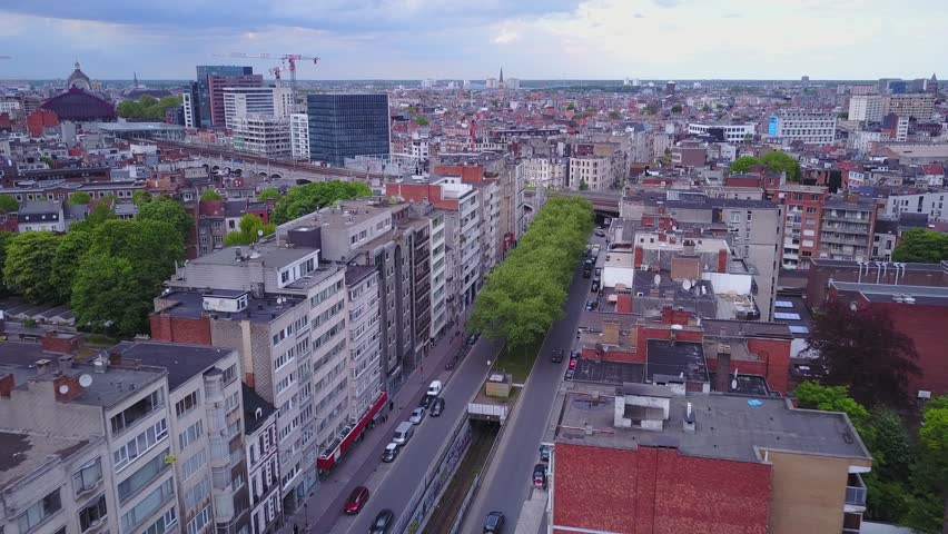 Antwerpen, Belgium, aerial drone city and transportation footage 4k | Shutterstock HD Video #29279443