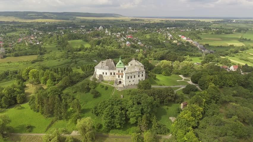 Aerial view of Olesko Castle in Lviv region, Ukraine. 4k