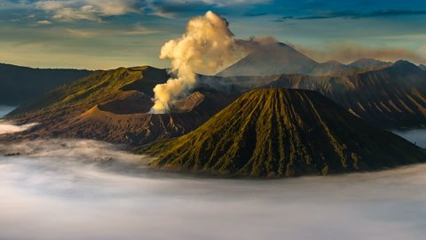 Time Lapse of Mount Bromo volcano (Gunung Bromo) during sunrise from viewpoint on Mount Penanjakan in Bromo Tengger Semeru National Park, East Java, Indonesia.