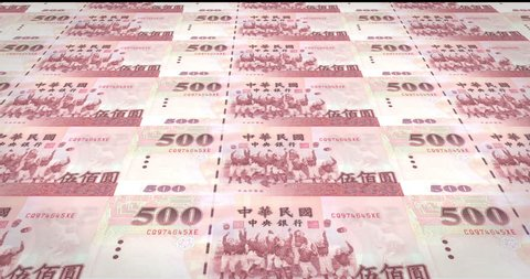 Banknotes of five hundred taiwanese dollars of Taiwan rolling, cash money, loop