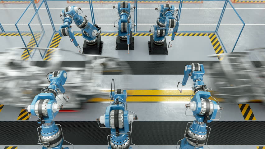 Working Car Conveyor Belt on the Automobile Plant with Spot Welding Robots | Shutterstock HD Video #29348503
