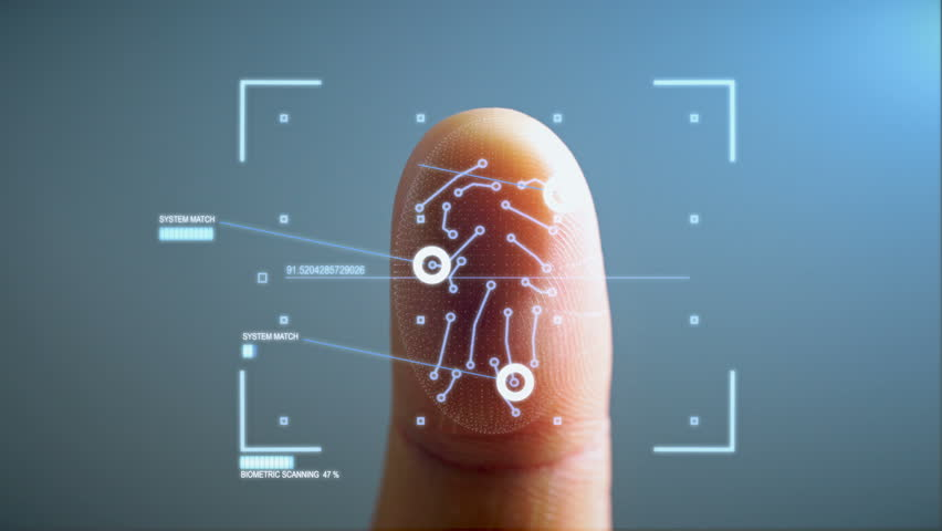 Futuristic Biometric Fingerprint Security Scanner - Biometric scanner scanning a human finger and identifying the user for access.