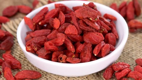 Dry Goji Berries as seamless loopable rotating 4K UHD footage