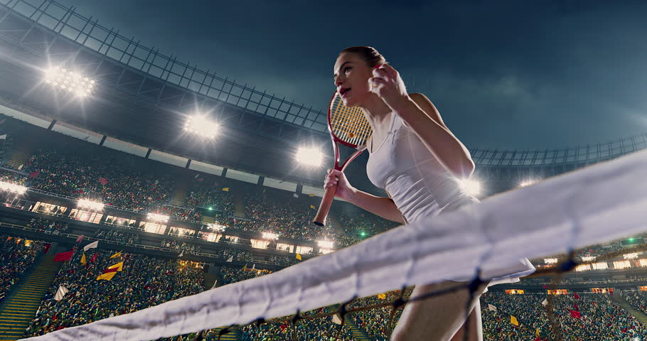 Female tennis player is happy during game on the professional stadium. She is wearing unbranded sport clothes. The stadium is made in 3D.