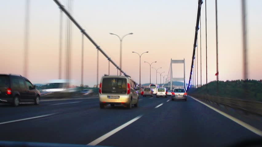 ISTANBUL - OCT 26: (Timelapse View) Busy Traffic on FSM Bridge on October 26,