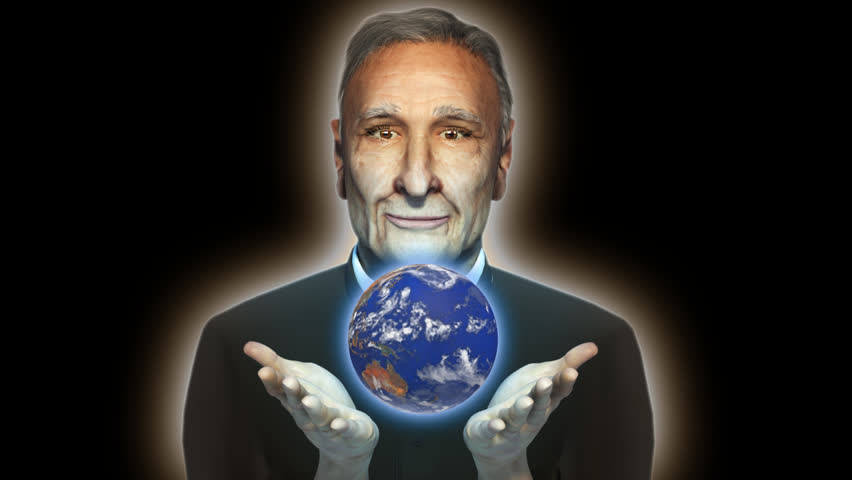 """Wise old man with spinning world earth in palm of hands globe showing geographical location continents Australia Africa Europe America 