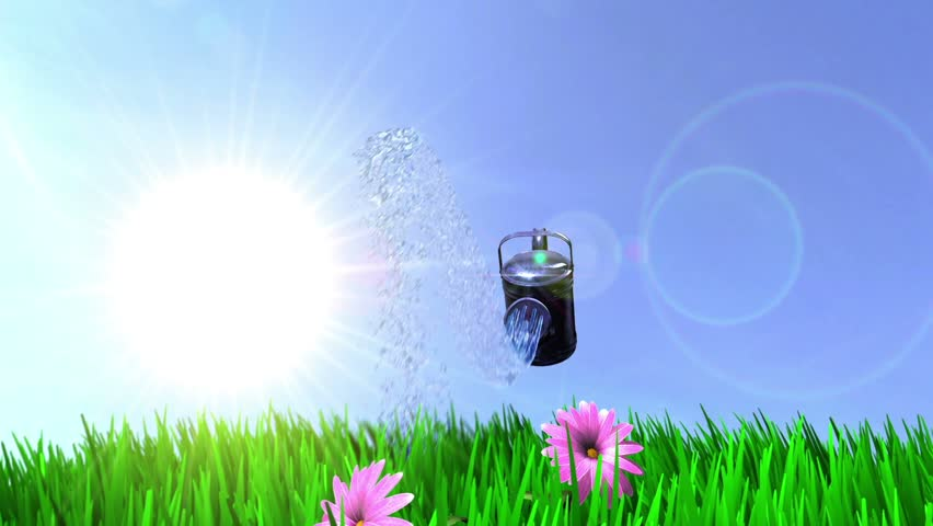 animated ecology conceptual background with watering can and growing flowers and grass
