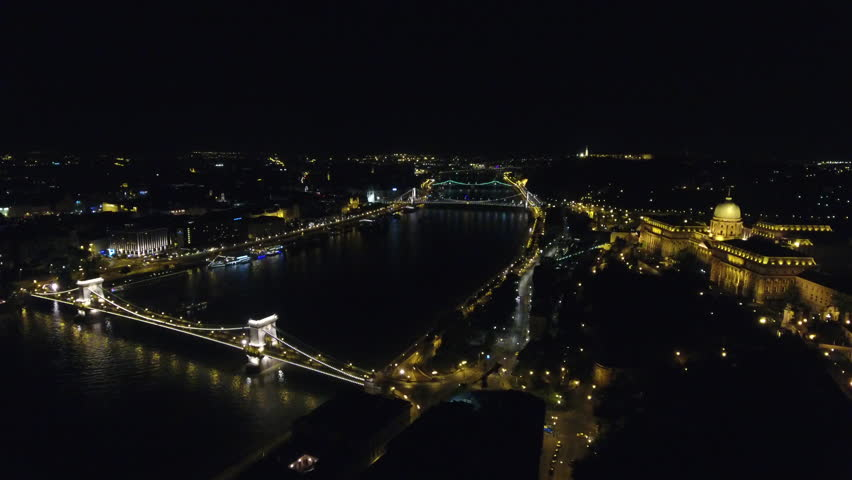 Chain Bridge And Buda Castle In Budapest Aerial Approach At Night Budapest Hungary | Shutterstock HD Video #29505103