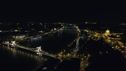 Chain Bridge And Buda Castle In Budapest Aerial Approach At Night Budapest Hungary