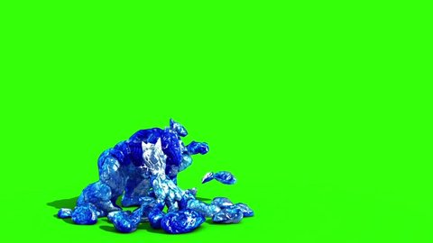 Ice Monster Attacks Side Green Screen 3D Rendering Animation