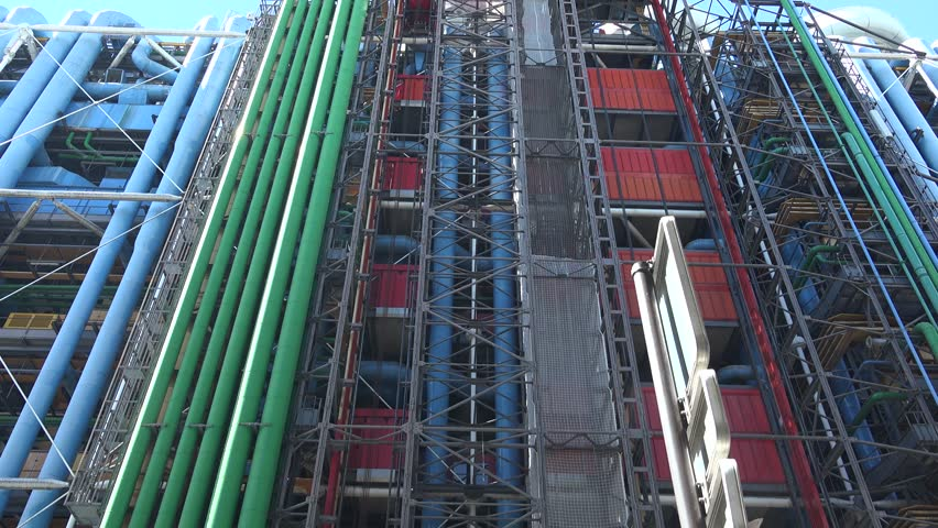 The pipework for the internal services on the Rue du Renard side of the Centre Georges Pompidou (1977) , Paris, France street tilt down. | Shutterstock HD Video #29532826
