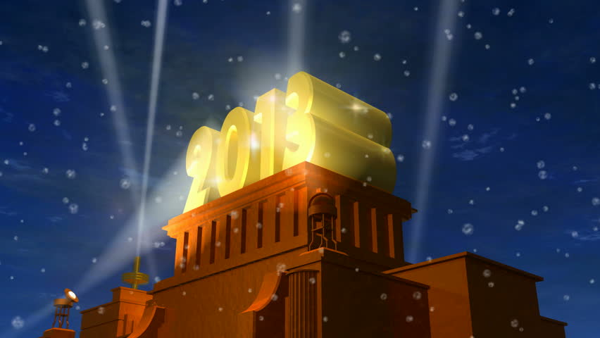 "New Year 2013 celebration caption: shiny golden ""2013"" on pedestal in a snowy weather"