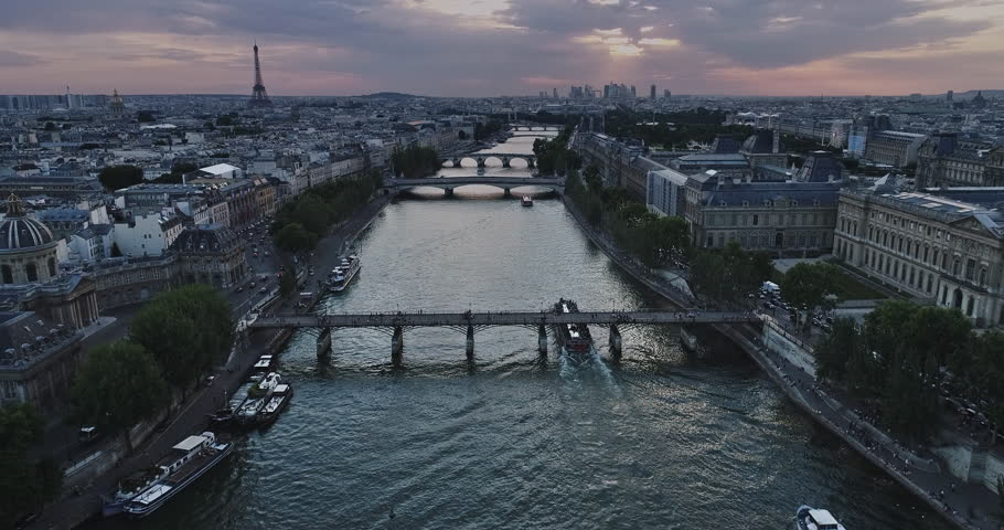 Aerial view of Paris with Seine river during sunset | Shutterstock HD Video #29543650