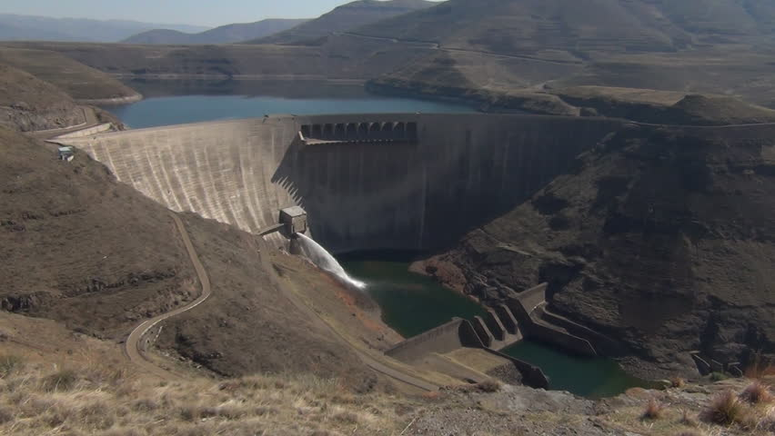 A wide shot the Katse Dam in Lesotho.