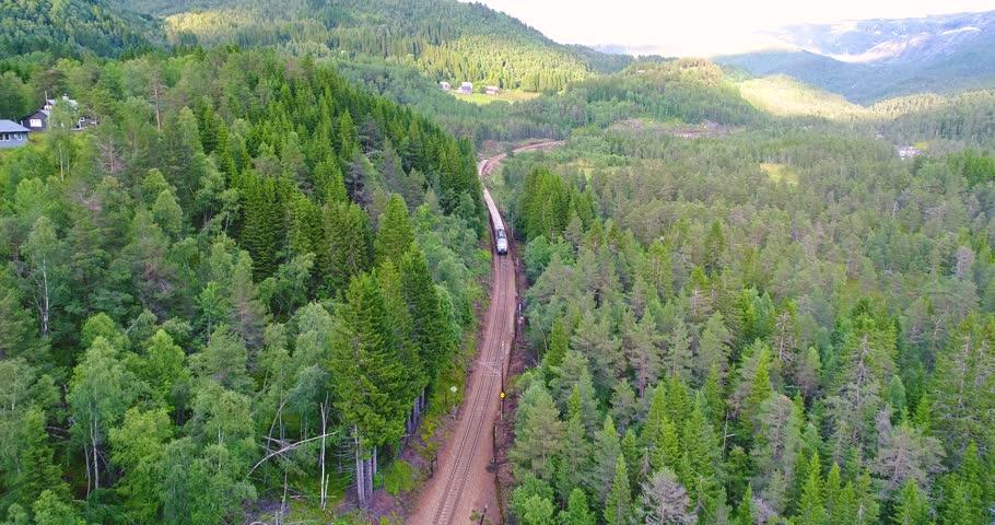 AERIAL. Train Oslo - Bergen in mountains. Norway.