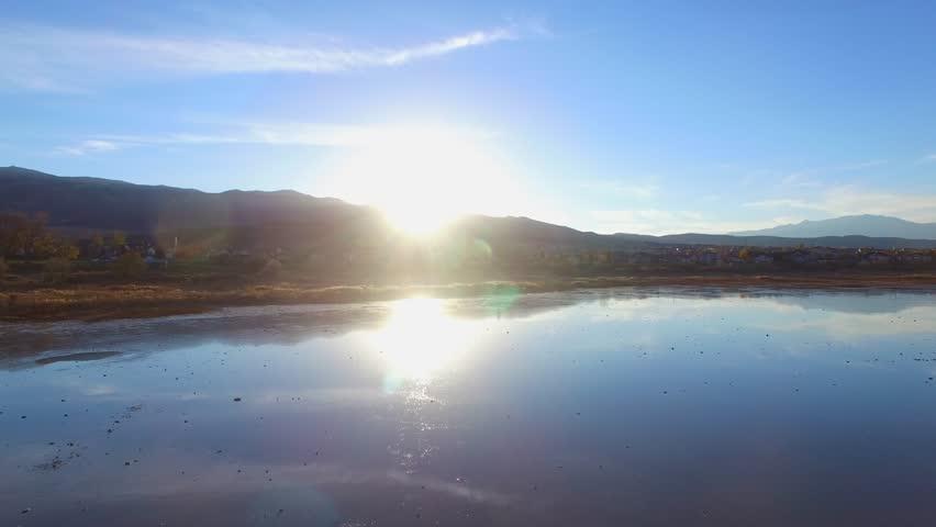 Utah Lake Marsh With Mountain Sunset Reveal | Shutterstock HD Video #29560783