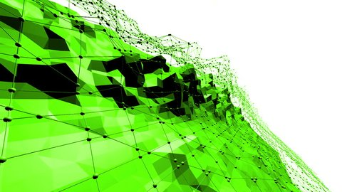 Green low poly background waving. Abstract low poly surface as fractal background in stylish low poly design. Polygonal mosaic background with vertex, spikes. Cartoon modern 3D design Free space