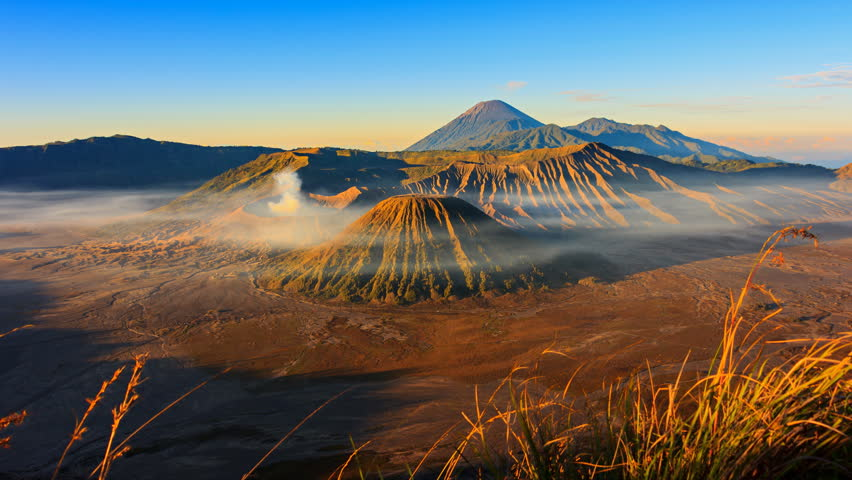 The Bromo Volcano Sunrise Landmark Nature Travel Place Of Indonesia  4K Time Lapse
