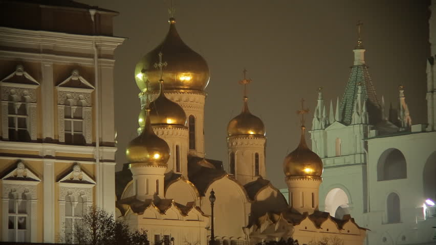 night Kremlin, embankment, Moscow, Russia, sequence