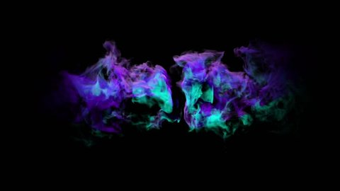 Abstract smoke cloud. Smoke design. Deep blue, violet and purple, smoke on black background. Animation of color powder explosion on black background. Slow motion fog. Explosion of colorful gas.