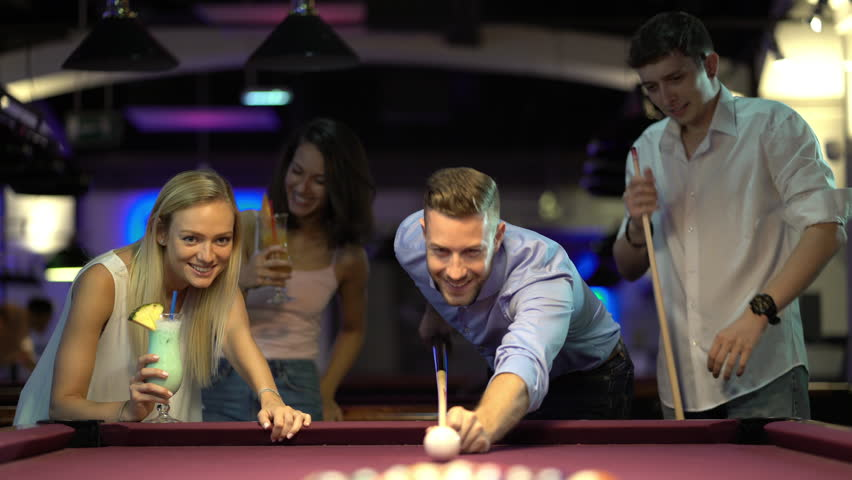 three ladies are playing billiards and having unforgettable threesome  24049