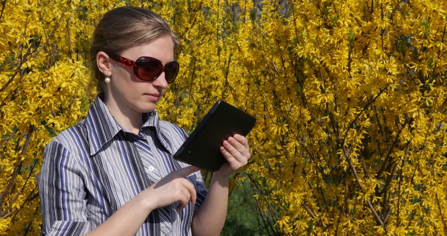 Good Looking Business Woman Work On Digital Tablet, Outdoor Office Teamwork Chat   Shutterstock HD Video #29657443