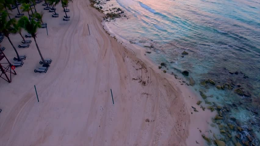 4k Sunrise drone footage on the beach in Mexico.