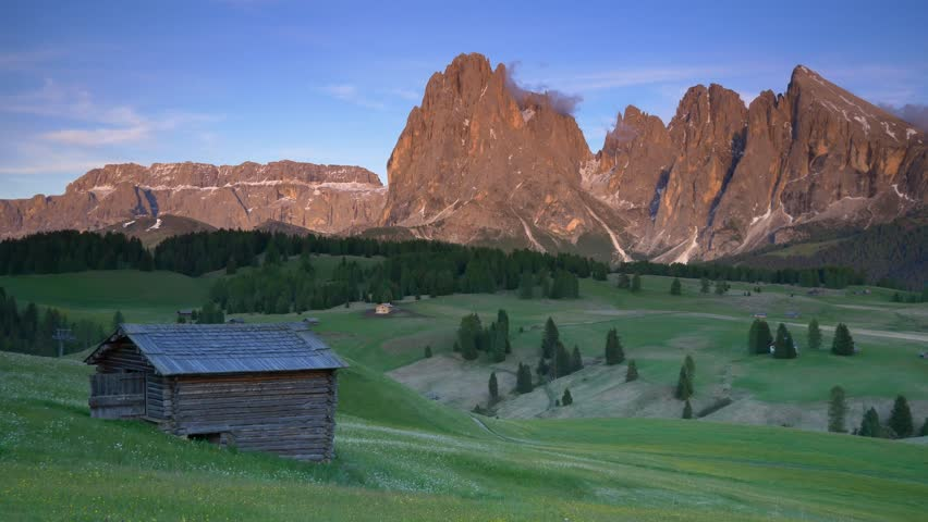 Mountain Langkofel at sunset view from Seiser Alm (panning shot), Dolomites, Italy   | Shutterstock HD Video #29665033