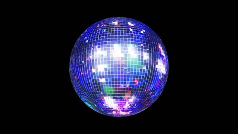 3D Disco Mirror Ball spinning and reflecting real club colorful lights and lasers .