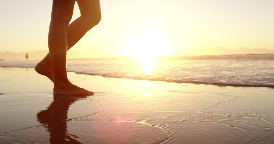 Legs Of Beauty Girl Walking Barefoot Along Wet Sand Beach Over Sunset Bare Feet Of -7159