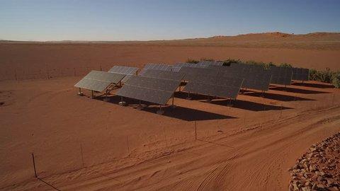 Aerial shot of solar panels in desert - NamibRand Nature Reserve - Windhoek, Namibia