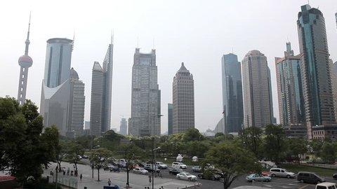Shanghai Skyline, China, Oriental Pearl Tower, Skyscrapers, Blurred Logo
