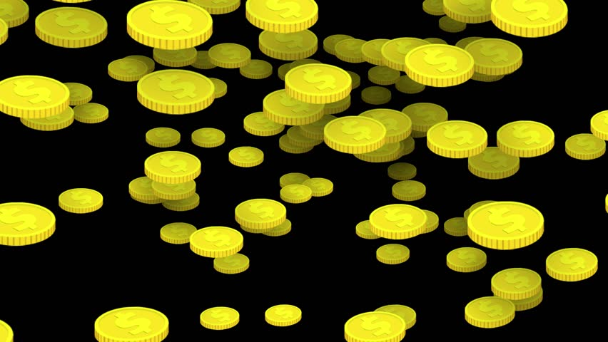 Money background. Lot of cartoon gold coins falling down on pure black. Many yellow ellipses with dollar sign flying. Simple animation, business or finance theme.