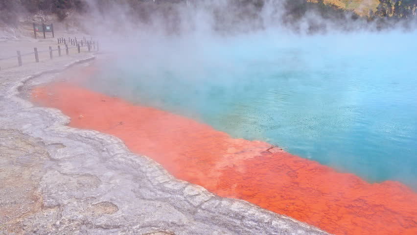 Rotorua, New Zealand - The colorful Champagne pool is a unique hot spring in the thermal Wai O Tapu valley, colours created by arsenic and antimony